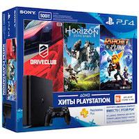 PlayStation 4 Slim (1Tb) + Игры DriveClub, Horizon Zero Dawn и Ratchet&Clank