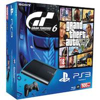 PlayStation 3 (500G) Super Slim + Игры GTA V + Gran Turismo 6