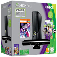 XBox 360 250G (Slim) + Kinect + Игры Dance Central 2 + Sport