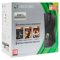 XBox 360 250G (Slim) + Игры Gears of War 3 + Halo:Reach + Fable3