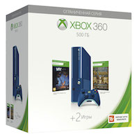 XBox 360E 500G (Slim) Blue + Игра Toy Soldiers + Max: the Curse of Broth